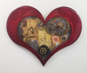 "Steampunk Heart - Bike Theme ($125) 10"" x 8"""