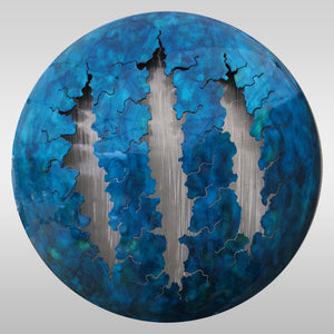 "LED Art: Blue Fissures by Kristen Hoard ($800) 23"" Diameter"