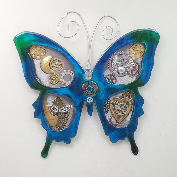 Metal Wall Decor: Steampunk Butterfly Blue ($125) 12