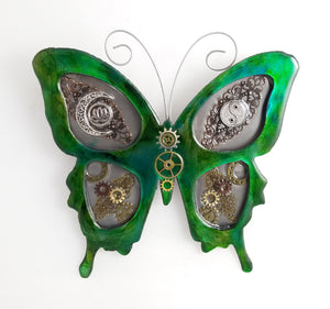 "Metal Wall Decor: Steampunk Butterfly Green ($125) 12"" x 12"""