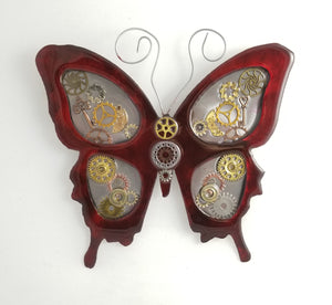 "Metal Wall Decor: Steampunk Butterfly Red ($125) 12"" x 12"""