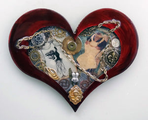 "Steampunk Heart: Corset Red ($125) 10"" x 8"""
