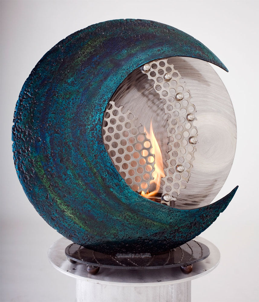 Metal Sculpture Firepit: Blue Moon by Kristen Hoard ($600)