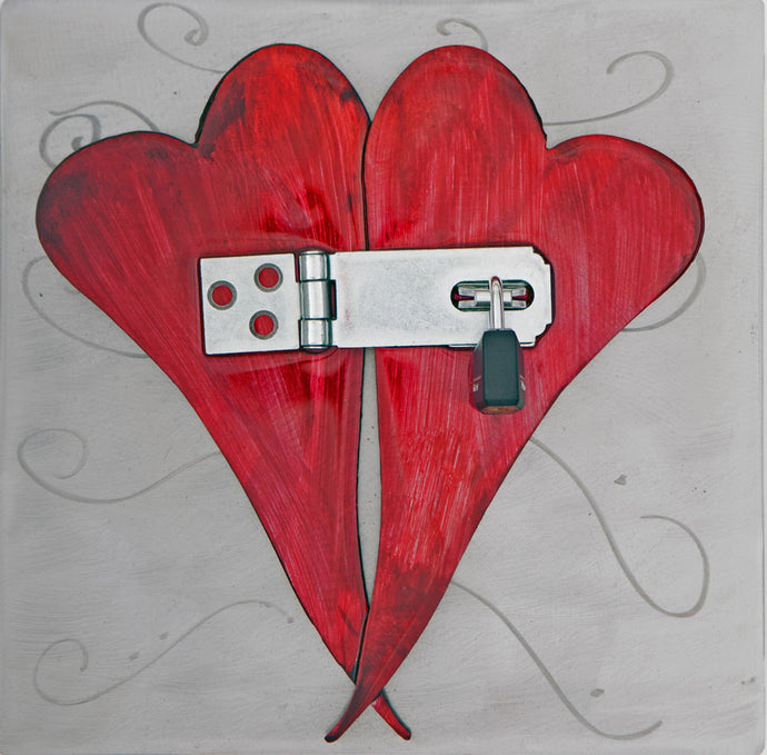 Metal Wall Art: Love Locked by Kristen Hoard ($125)