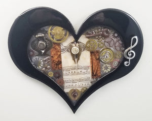 "Steampunk Heart: Music Black ($125) 10"" x 8"""