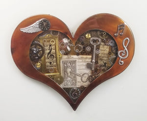 "Steampunk Heart: Music Patina ($125) 10"" x 8"" SOLD order a custom one!"