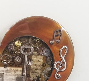 "Steampunk Heart: Music Patina ($125) 10"" x 8"""