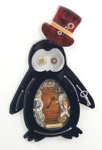 "Steampunk Penguin Red Hat ($95) 10"" x 6"""