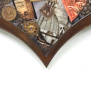 "Steampunk Heart: Rome Patina ($125) 10"" x 8"""