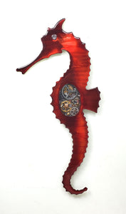 "Steampunk Seahorse red left facing ($125) 4"" x 15"""