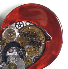 "Steampunk Heart: Torn Red ($125) 10"" x 8"" SOLD!"