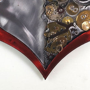 "Steampunk Heart: Torn Red ($125) 10"" x 8"""
