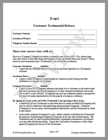 Customer Testimonial Release Form