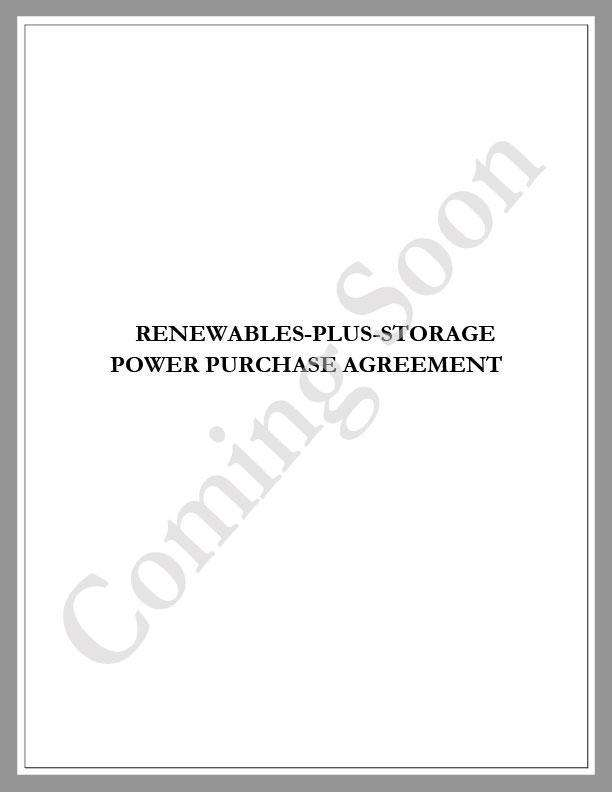 Renewables-Plus-Storage Power Purchase Agreement (PPA) - Renewable energy legal forms from CleanTech Docs