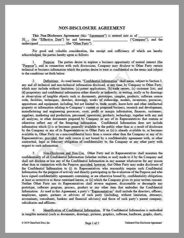 "Non-Disclosure Agreement (""NDA"") for Business Discussions (Unilateral) - Renewable energy legal forms from CleanTech Docs"