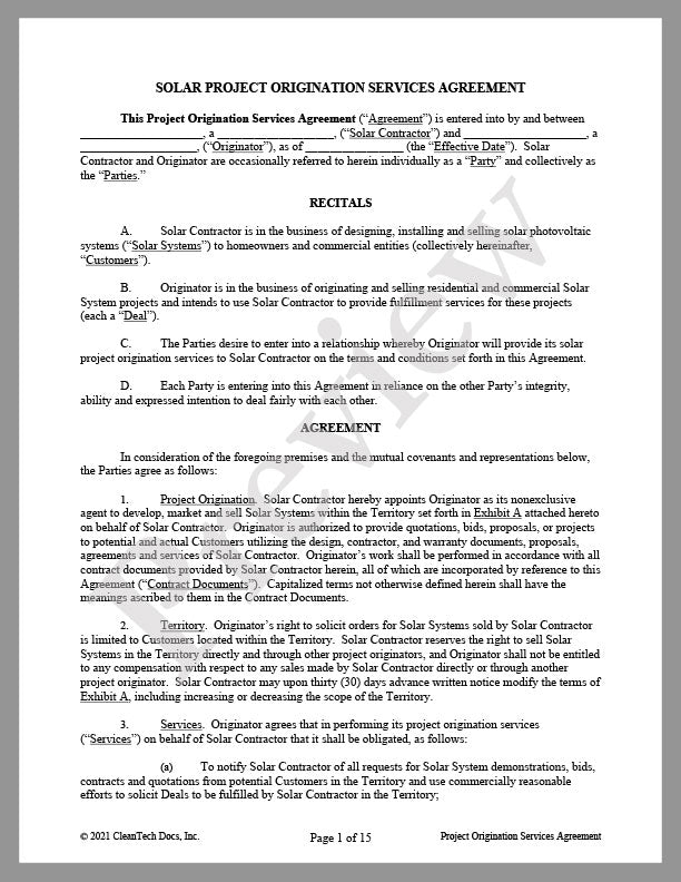 Solar Project Origination (Lead Generator) Agreement - Renewable energy legal forms from CleanTech Docs