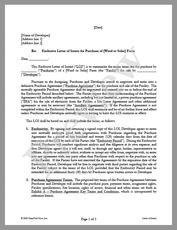 Letter of Intent (LOI) for Purchase of Solar or Wind Farm - Renewable energy legal forms from CleanTech Docs