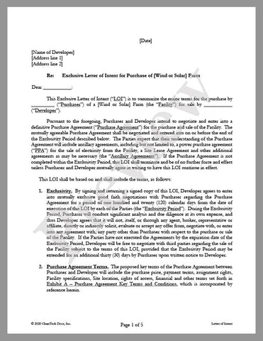 Letter of Intent (LOI) for Purchase of Solar or Wind Farm