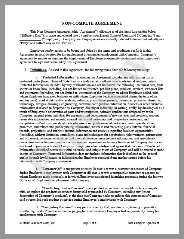 Non-Compete Agreement - Renewable energy legal forms from CleanTech Docs