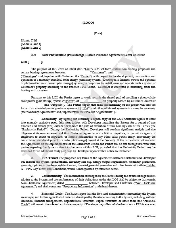 Letter of Intent (LOI) for Power Purchase Agreement - CleanTech Docs