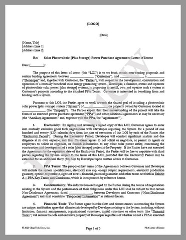 Letter of Intent (LOI) for Power Purchase Agreement