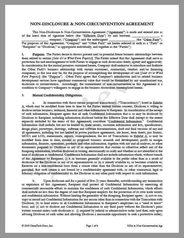 Non-Disclosure & Non-Circumvention Agreement for Solar or Wind Farm - Renewable energy legal forms from CleanTech Docs