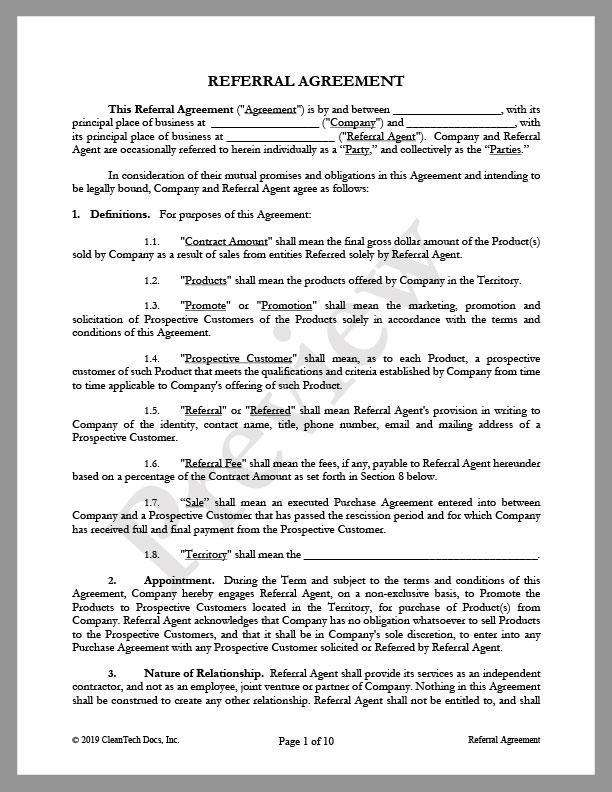 Referral Agreement - Renewable energy legal forms from CleanTech Docs