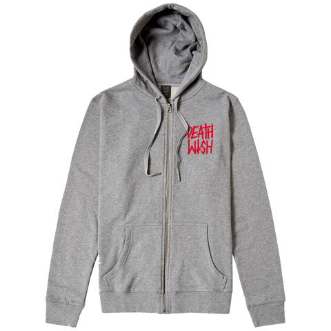 THE TRUTH ZIP UP HOODIE HEATHER GREY/ RED