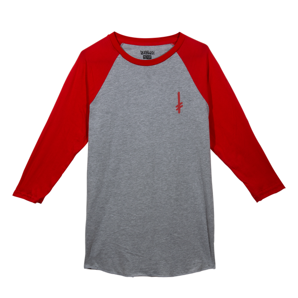 GANG LOGO BASEBALL TEE HEATER GREY/RED