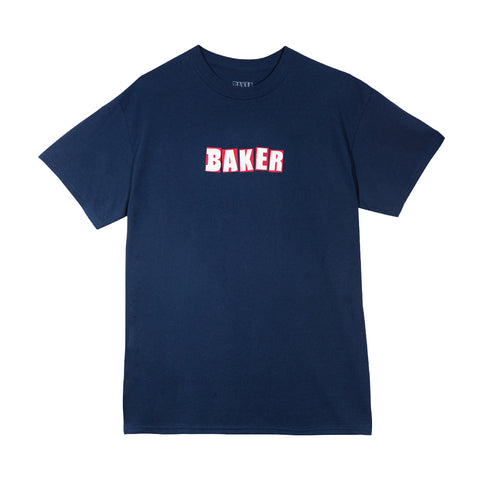 BRAND LOGO TEE NAVY/RED