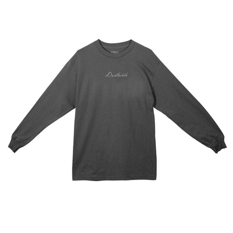 Script Long Sleeve Tee Charcoal