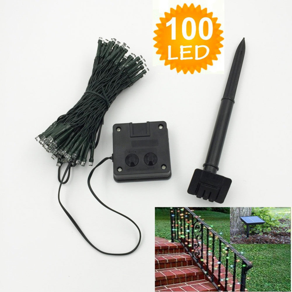 100 LED Outdoor 9 Colors Solar Lamps LED String Lights Fairy Holiday Christmas Party Garlands Solar Garden Waterproof Lights