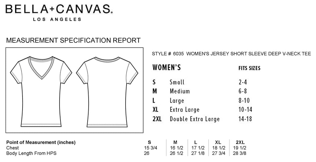 Bella Deep V-Neck Chart