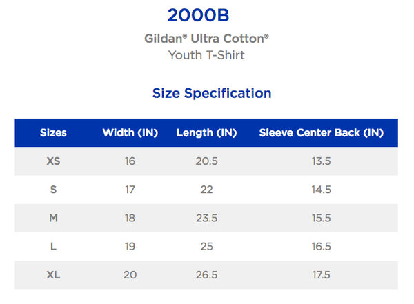 Gildan Youth T-Shirt Chart