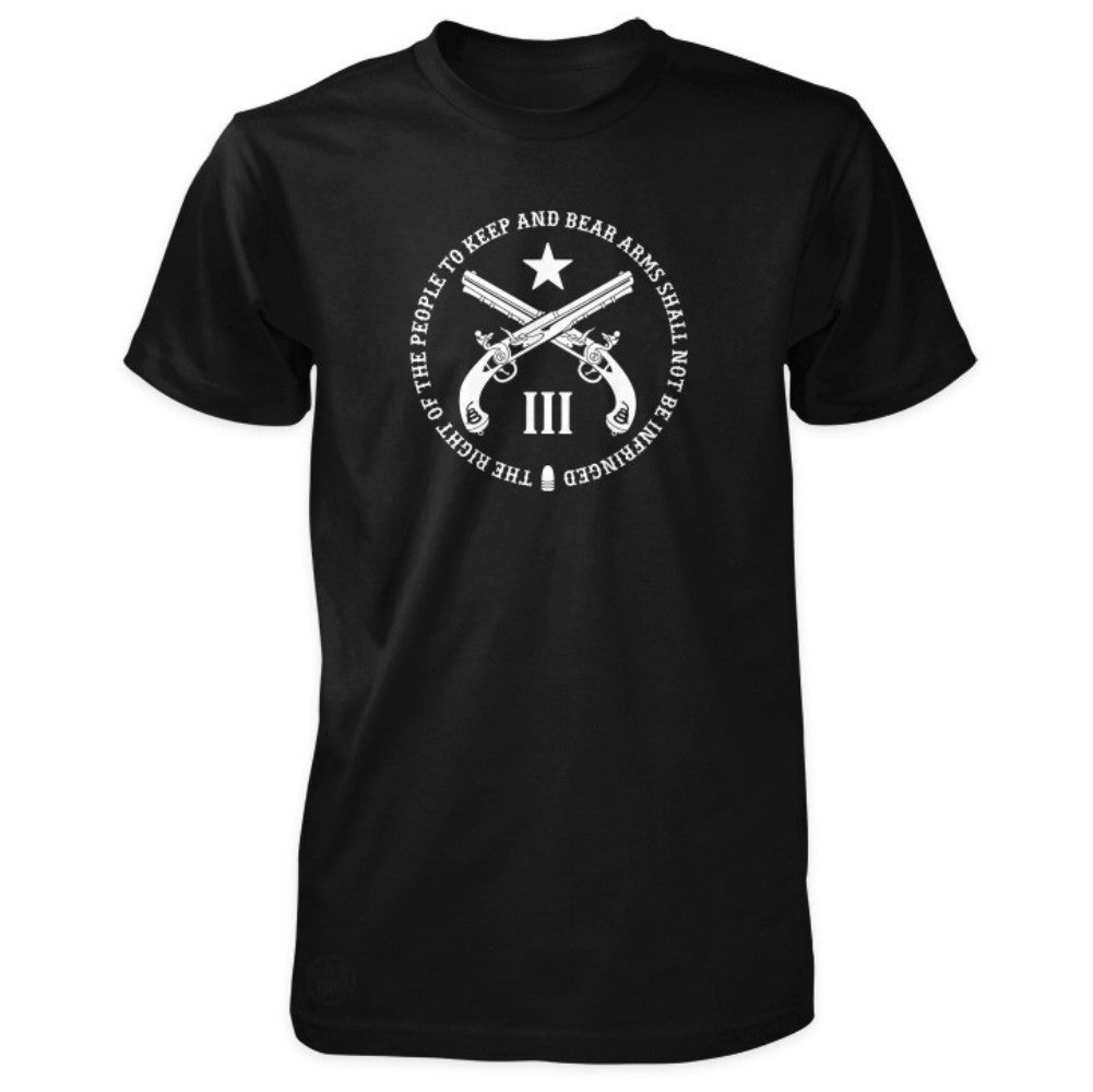 Pro Second Amendment Shirt - Quote Crossed Pistols & III - Black