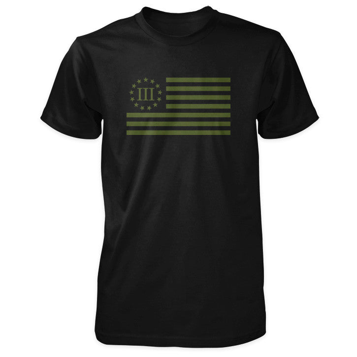 Three Percenter Shirt - III Percenter Flag - Black / OD Green