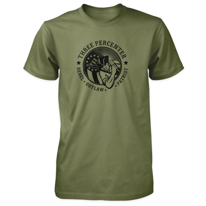 Three Percenter Shirt - Rebel Outlaw Patriot - Military