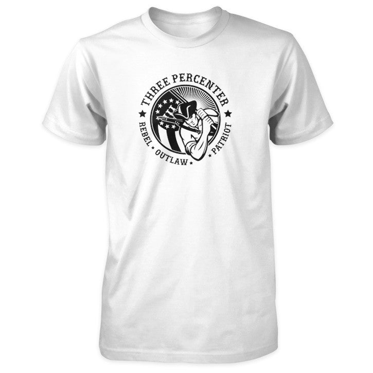 Three Percenter Shirt - Rebel Outlaw Patriot - White