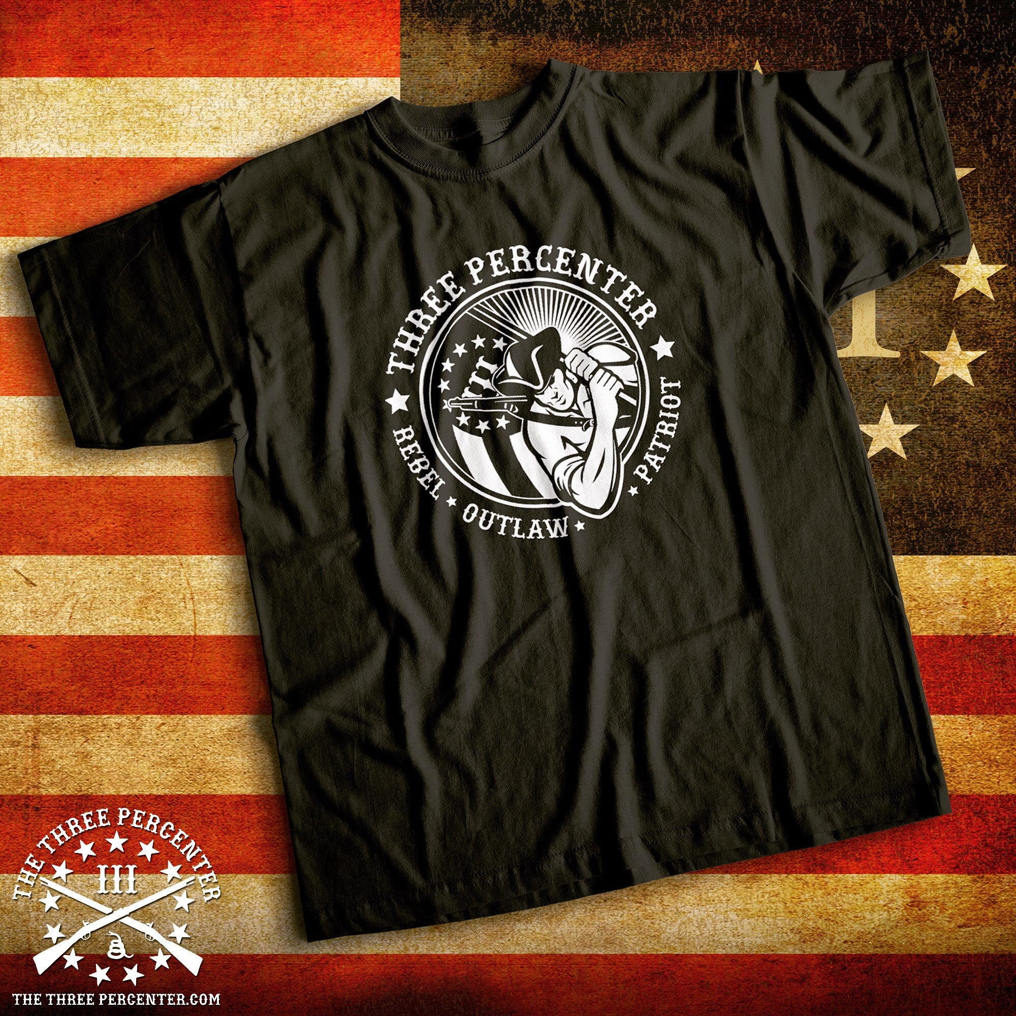 Three Percenter Shirt - Rebel Outlaw Patriot