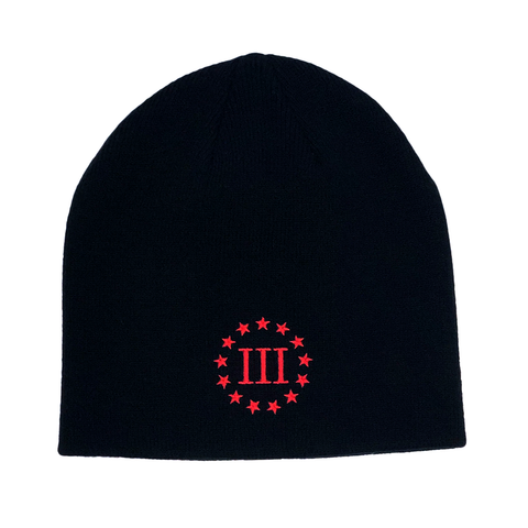 Three Percenter Beanie - III & 13 Stars - Black & Red
