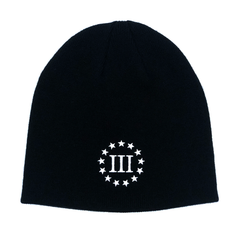 Three Percenter Beanie - III & 13 Stars - Black & White