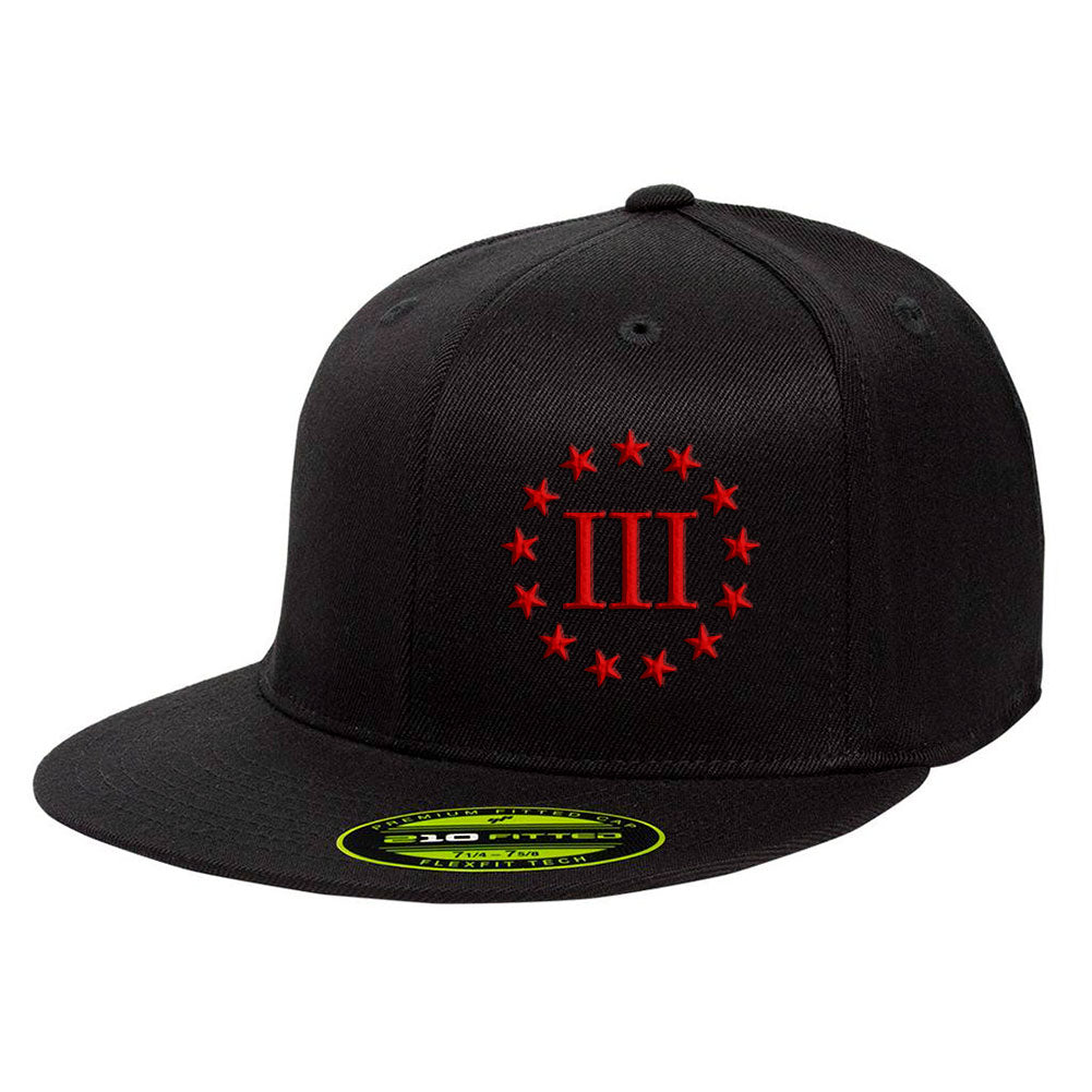 Three Percenter III & 13 Stars 210 Premium FlexFit Cap - Black & Red