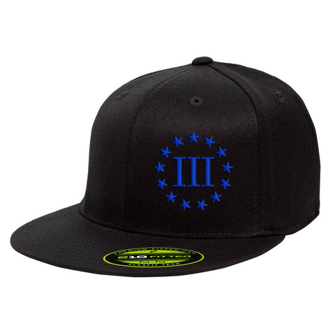 Three Percenter III & 13 Stars 210 Premium FlexFit Cap - Black & Royal