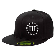 Three Percenter III & 13 Stars 210 Premium FlexFit Cap - Black & White