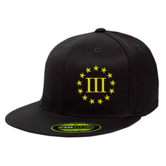Three Percenter III & 13 Stars 210 Premium FlexFit Cap - Black & Yellow
