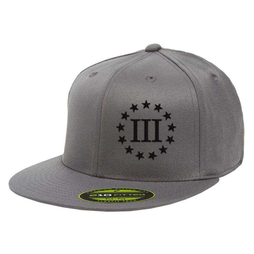 Three Percenter III & 13 Stars 210 Premium FlexFit Cap - Grey & Black