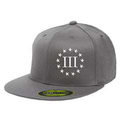Three Percenter III & 13 Stars 210 Premium FlexFit Cap - Grey & White