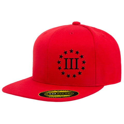 Three Percenter III & 13 Stars 210 Premium FlexFit Cap - Red & Black