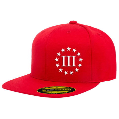 Three Percenter III & 13 Stars 210 Premium FlexFit Cap - Red & White