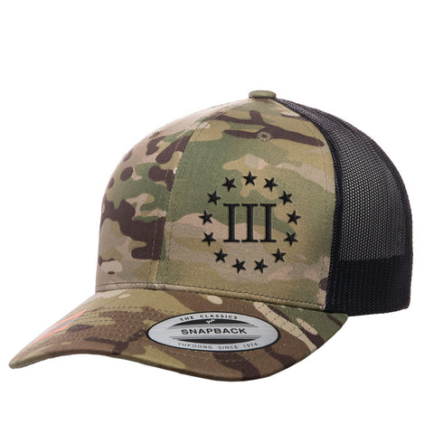 Three Percenter III & 13 Stars Retro Trucker Cap - Multicam & Black